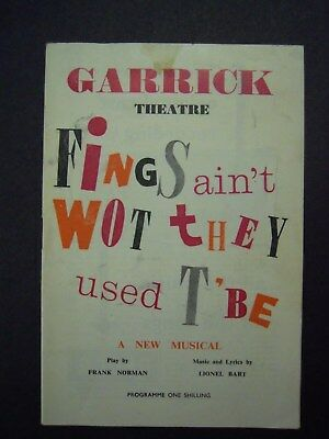 """Lionel Bart`s """"fings Aint What They Used To Be"""" Garrick Theatre Vintage Programm"""