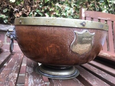 Antique Victorian Oak Fruit Bowl with Wedgewood Ceramic Liner Dated 1877