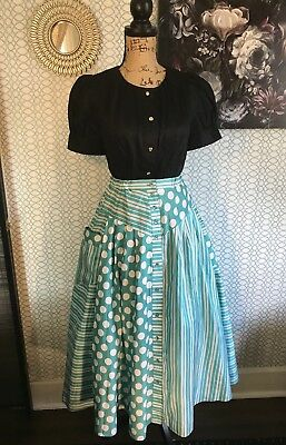 Womens VINTAGE Skirt Aqua Turquoise Polka Dots Maxi 60s Party Pinup Rockabilly M