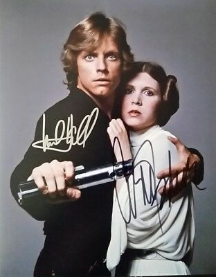 Mark Hamill Carrie Fisher Autograph Photo From Star Wars With COA