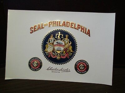 Vintage EMBOSSED Cigar Label SEAL OF PHILADELPHIA - Charles Seider - Originator