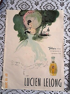 """1945 LUCIEN LELONG TAILSPIN PERFUME PRINT AD 9"""" x 12"""", BATES FABRIC AD ON BACK"""