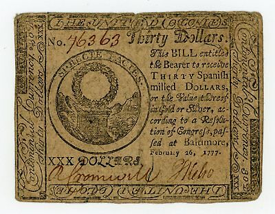 (CC-62) February 26, 1777 $30 Continental Currency Note