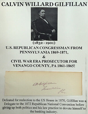 Us Congressman Pennsylvania Civil War Prosecutor Venango County Autograph Signed