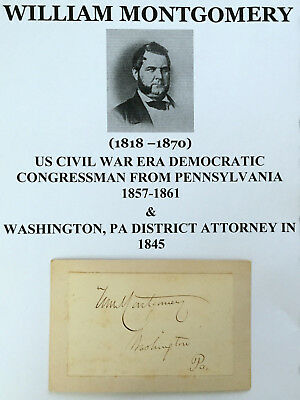 Civil War Era Democratic Congressman Washington Pennsylvania Autograph Signed Vg