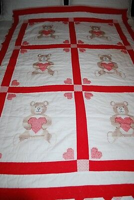 Pre-Owned - Hand Quilted/Cross Stitch - 6 Panel - Red/White/Bear Heart Quilt
