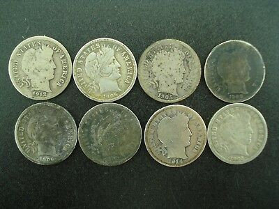 Lot of (8) Old Barber Dimes 10c Silver Coins **NO RESERVE**
