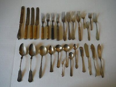 Antique Aged Mixed Lot of 29 Pieces of Tableware - Knifes - Forks - Spoons