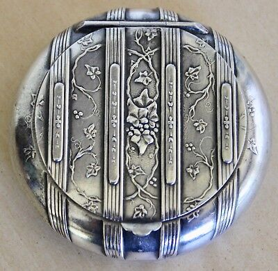 Antique French Gorgeous  Sterling Silver Pill Box Or Compact