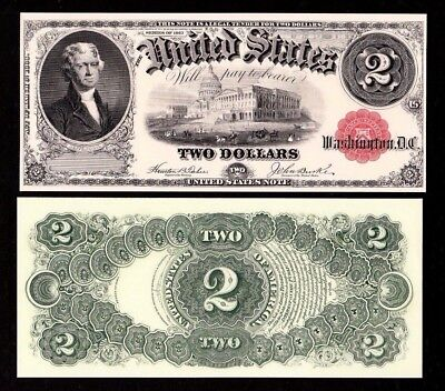 2 BEP Proof Prints or Intaglio Impressions - Face & Back of 1917 $2 U.S. Note