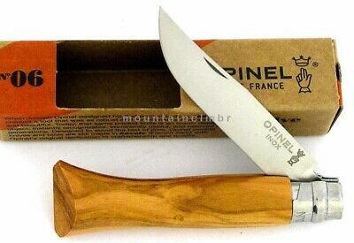 Opinel No 6 OLIVE WOOD Safety Locking Stainless Steel Blade Knife France
