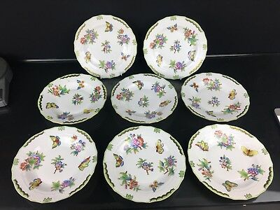 Wonderful Set of 8 Hand-Painted Herend Saucers Amazing Condition and Attractive