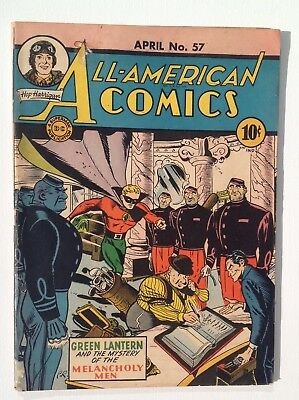 "ALL-AMERICAN COMICS #57 April 1944 Green Lantern ""Mystery of the Melancholy Men"""