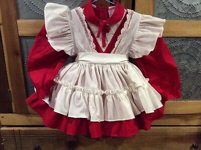 VINTAGE MARTHA'S MINIATURES WE'RE FUSSY 4T Red & White Dress