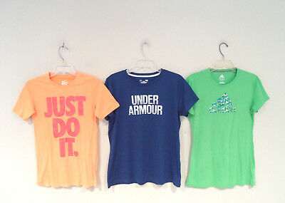 Lot of 3 Nike & Under Armour Women's Workout Shirt Sz Large Adidas Athletic Top