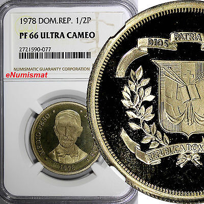 Dominican Republic Copper-Nickel PROOF 1978 1/2 Peso NGC PF66 ULTRA CAMEO KM# 52