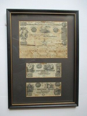 1840 REPUBLIC OF TEXAS $100 STOCK CERTIFICATE + $20 and $50 NOTES - IN FRAME