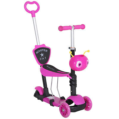 HOMCOM 5-in-1 Kids Baby Toddler Kick Scooter Removable Seat Height Adjustable