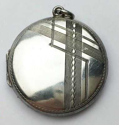 Vintage Solid Sterling Silver Art Deco Round Photograph Photo Locket Pendant