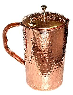100% Pure Copper Water Pitcher Pot Jug 1.5L For Drinking Water Ayurvedic Benefit