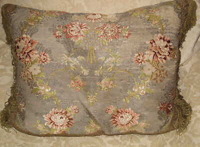 ANTIQUE 18TH CENTURY SPITALFIELDS/LYON SILK BROCADE PILLOW w METALLIC TRIM