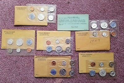 Lot of 6 US United States Proof Sets 1957 1959 1961 1962 1963 1964