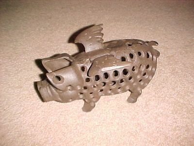 """Heavy Cast Iron Flying Pig Candle Holder or Door Stop 10.5"""" x 6"""""""
