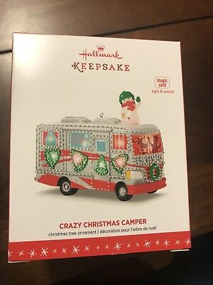 2016 Hallmark Ornament Crazy Christmas Camper Magic Cord Light & Sound - New