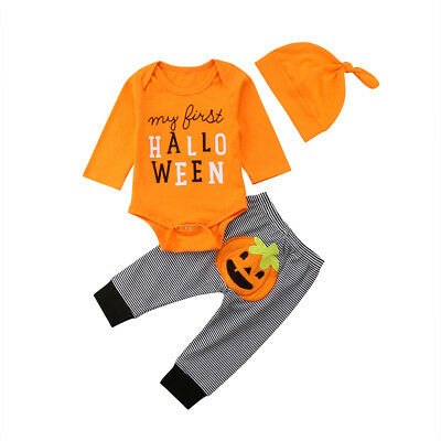 3Pcs Halloween Toddler Kids Baby Infant Tops Letter Romper+Long Pants Hat Outfit