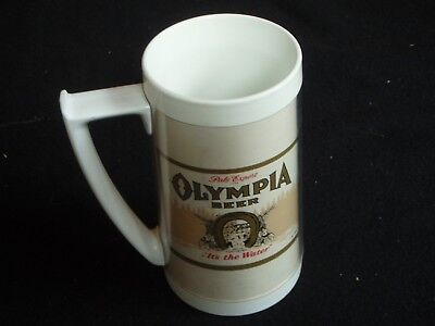 "Vintage OLYMPIA BEER THERMO-SERV PLASTIC MUG  ""It's the Water"""