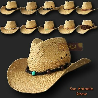 ■oZtrALa■ Straw Cowboy HAT Outback Western Jacaru Mens Womens Australian Leather