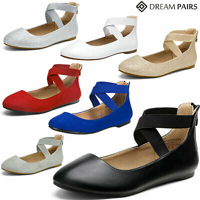 DREAM PAIRS Womens Sole_Stretchy Easy Walking Elastic Ankle Straps Flats Shoes