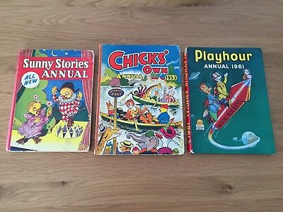 3 x Vintage Annuals 1950's & 60's Sunny Stories  Chicks Own  Playhour
