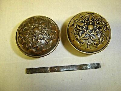 Antique Victorian or Eastlake Pair Brass Embossed Door knobs  Ornate Design 7087