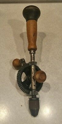 Vintage Pexto Wood Handled Hand Drill Egg Beater Style