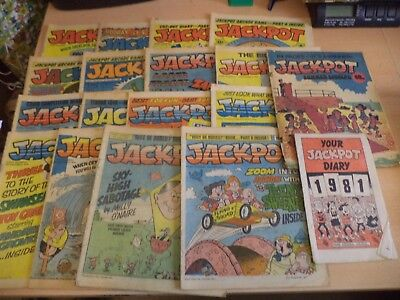 LOT OF 18 OLD VINTAGE jackpot BRITISH COMIC MAGAZINE 1970S 1980S 1979 - 1981