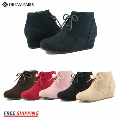 DREAM PAIRS Girl's Wedge Heel Mid Calf Boots Casual Faux Suede Fur Lined  Shoes