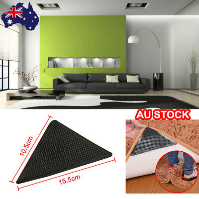 AU 4pc Anti-skid Rubber Washable Tape Sticker Carpet Rug Gripper Stopper -B3