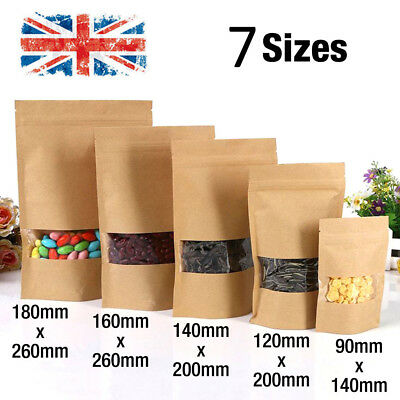 100× Kraft Paper Bag Window Stand Up Pouch Zip Lock Resealable Heat Seal Display