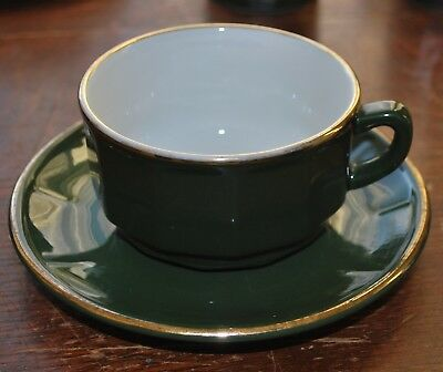 Apilco Green and Gold Coffee Cup and Saucer