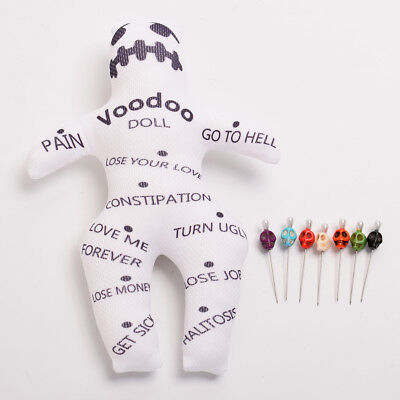 White Orleans Authentic Voodoo Doll With 7 color Skull Pins