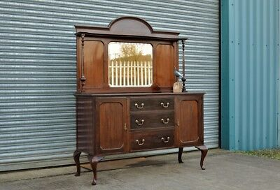 Mahogany Sideboard Chiffonier Dresser with drawers and Mirror Queen Anne Leg  .
