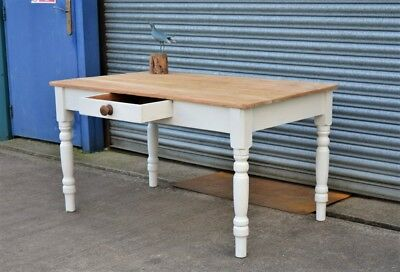 Antique Pine Dining Table Shabby Chic Painted off White Distressed.