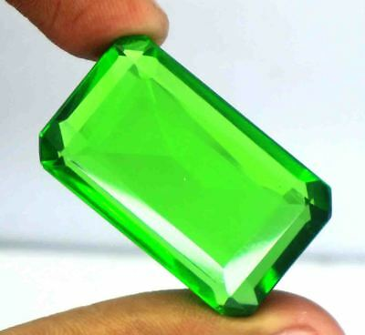 64.30Ct EGL Certified Green Moldavite Wonderful Emerald Cut Loose Gemstone BY803