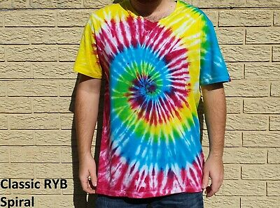 1960's Classic Hippie Adult Unisex Tie-Dye T-Shirts, Colourful men's shirt