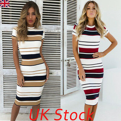 UK Women Striped Bodycon Short Sleeve Summer Holiday Ladies Midi Dress Size 6-14