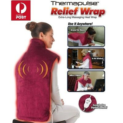 Relief Wrap Extra-Long Massaging Electric Heated Blanket Muscles Neck Pain Pad