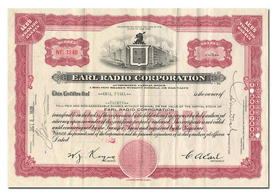 Earl Radio Corporation Stock Certificate