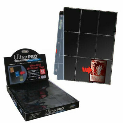 50 x Ultra Pro Side Load 9 18 Pocket Trading Card Sleeves Pages Black Pokemon