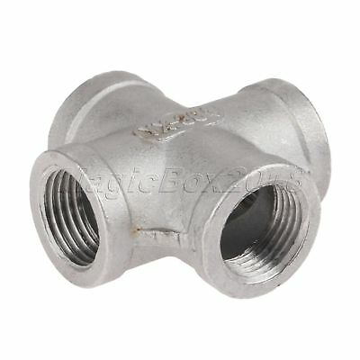 "New 1/2"" Thread 4 Way Pipe Fitting NPT Female Cross Coupling Connect Profession"